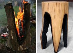 Excelente asiento ideado por Kaspar Hamacher #sculpture #seat #bench #wood #fire