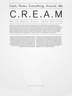 C.R.E.A.M #layout #typography