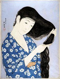 hanga gallery . . . torii gallery: Woman Combing Hair by Hashiguchi Goyo #print #white #blue #japan #hair #kimono #woman #black