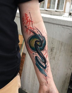 Abstract Waves Tattoo