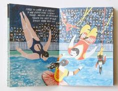 Fine Fine Books: Anna Vaivare: Swimming Pool #book #acrobats #pool #illustration #swimming