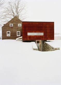 Likes | Tumblr #juxtaposition #modern #design #snow #wood #nature #architecture #vintage