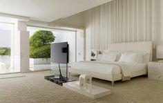 Futuristic residence with white bedroom