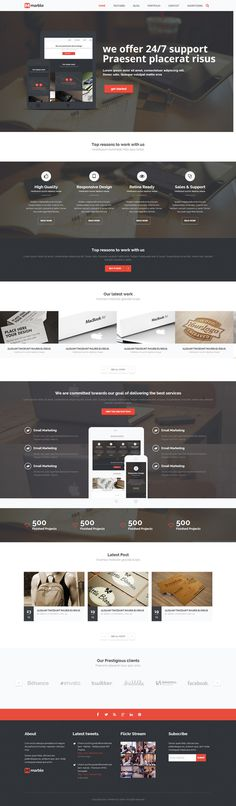 red, one page, wordpress, website, portfolio