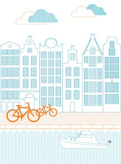 dutch urban landscape #urban #netherlands #landscape #digital #illustration #bike #dutch