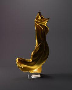 Letter J  #type #velvet #yellow #light #shadow #3D #fabric #sculpture