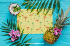 Tropical summer composition with pineapple Free Psd. See more inspiration related to Flower, Mockup, Floral, Party, Summer, Paper, Beach, Sun, Leaves, Fruits, Tropical, Holiday, Mock up, Coconut, Pineapple, Palm, Decorative, Vacation, Wooden, Summer beach, Summer party, Aloha, Up, Beach party, Tropical flowers, Season, Hawaiian, Palm leaves, Painted, Composition, Mock, Exotic, Summertime and Seasonal on Freepik.