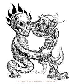 EL ENCUENTRO... on Behance https://www.behance.net/gallery/20667465/EL-ENCUENTRO #flames #ink #white #arte #pez #sadik #mexico #guanajuato #koi #fish #& #black #leon #art #ilustration #calavera #encuentro #skull #tinta