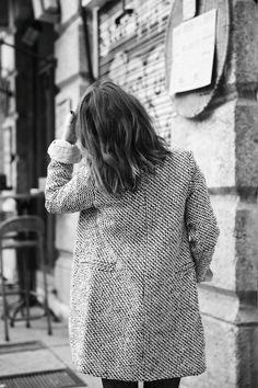 fashion, coat, black and white