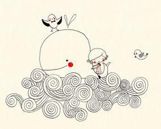 S W A N T J E · U N D · F R I E D A #cute #whale #illustration