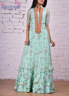 Vasansi Green Silk Indo Western
