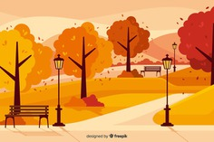 Background of flat autumn landscape Free Vector