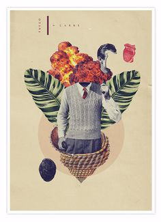 Fuego y Caballo. Collage composition mixing subtle and vibrant vintage illustrations. #poster