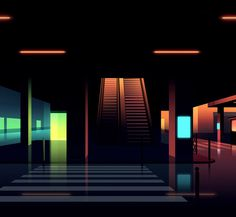 Romain Trystram #futuristic #environment #illustration #minimal #neon