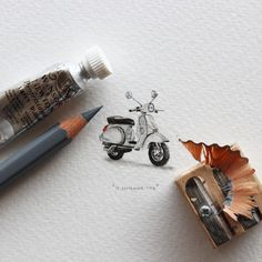 Postcards for Ants #vespa #miniature #drawining