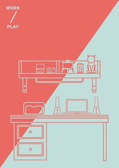 WORK // PLAY #vector #line #illustration #colour #play #workspace #singapore #work