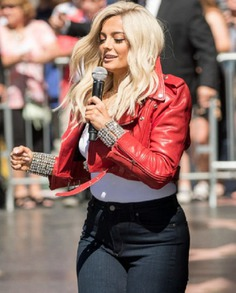 Bebe Rexha The Way I Are Red Leather Jacket (6)