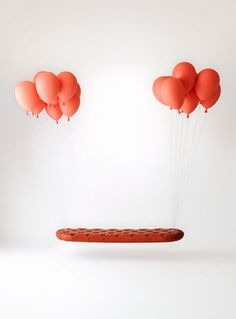 For Fans of 'Up', this Floating Bench - DesignTAXI.com #interior #red #balloons #chair #bench #floating #furniture