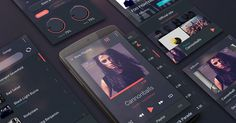Free Android Music Player UI Kit PSD