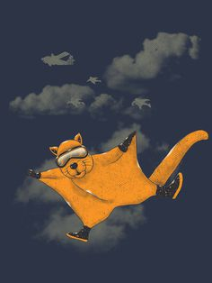 Wingsuit Flyer #design #graphic #illustration #animals #humor