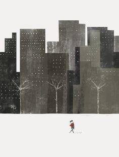 cosas mínimas #illustration #winter #street #city #blocks