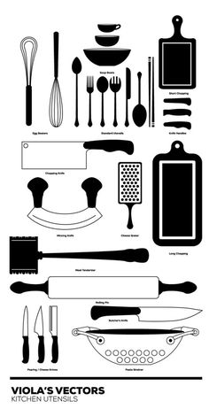 Kitchen Vector Set #white #cooking #icon #pasta #black #food #vegetables #illustration #kitchen #and #knife