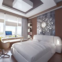 Artistic decor in bedroom with white bed