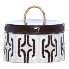Chocolate & White Geometric Terracotta Lidded Jar