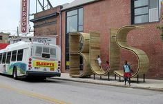 BUS STOP that form the letters BUS - JOQUZ #urban #bus #city #art #typography