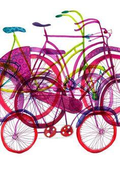 Biciclete | atelieruldeprint.ro #illustration #color #bike #bicycle