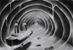 Rens Krikhaars' Holothuroidea - 8 #white #black #tunnel #illustration #boat #and #krikhaars #rens