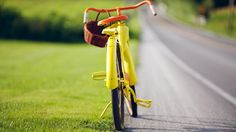 Yellow Bicycle at Roadside