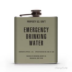 Vintage Emergency Drinking WaterProperty of U.S. Gov't 6oz Whiskey Hip Flask #army #water #emergency #drinking #government #flask #war #korean #vintage #us