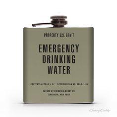 Vintage Emergency Drinking WaterProperty of U.S. Gov't 6oz Whiskey Hip Flask #army #water #emergency #drinking #government #flask #war #korean #vintage #us
