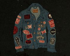 Various Work Jon Contino, Alphastructaesthetitologist #jacket #contino #jon #illustration #vintage #patches #jeans
