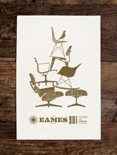 eames poster by Jay Fletcher #print #design #poster #industrial design #furniture #print design #product design #monochromatic #eames #gold