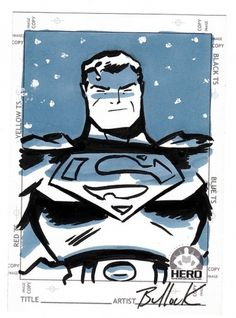 Superman HERO INITIATIVE card by ~DaveBullock on deviantART #illustration #comics #marker #duotone #superman #dave bullock