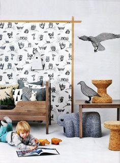 Love the wallpaper #interior #toys #cork #kid #graphic #birds #owls
