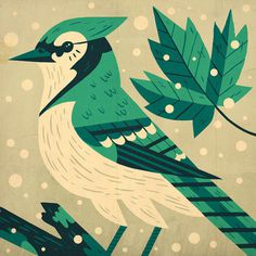 Fox & Bird - Owen Davey Illustration #flat #color #bird #illustration #green