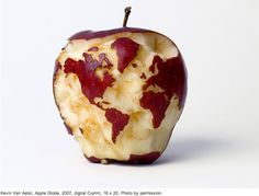 Chris Hannah - Art for Art's Sake: The earth's core - Chad's Eye View #apple #globe #core #fruit #countries #earths