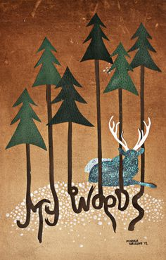 Michelle Carlslund illustration MYÂ WOODS #deer #glitter #woods #pretty #danish #illustration #brown #vintage #poster #pine #trees #green