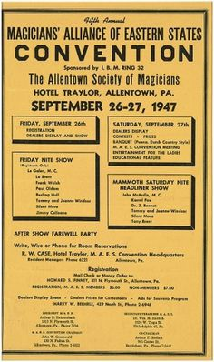 All sizes   Fifth annual Magicians' Alliance of Eastern States convention : Sponsored by I. B. M. Ring 32, the Allentown Society of Magicians, Hotel T #40s #typography