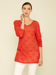 Kimberly Ovitz Shino Textured Knit Top #fashion #red #checkered #sweater