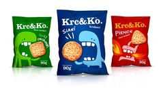 Krc&Ko Snacks - TheDieline.com - Package Design Blog #packaging #blue #red #green #food #crackers #bag