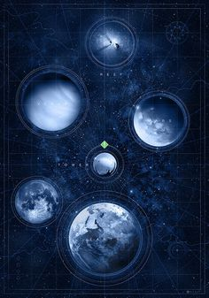 Destiny Map of the Heavens by doaly #sci fi #space #planets #destiny #games #video games #solar system #universe #fantasy #blue
