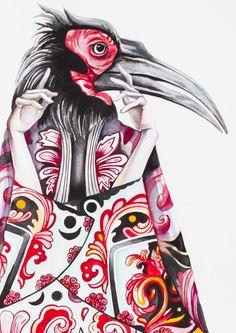 Lady bird in red. Water colour art by Nastya KFKS. KFKS STORE. #art #watercolor #drawing #fashion #design #red #bird #kfksstore