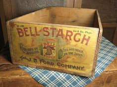 Old Wooden General Store BELL STARCH Advertising Box ~ Fab Paper Label ~ Wyandotte, Michigan #logo #vintage #package