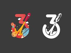 Number Three by Angus J #mark #logo #three #rocket