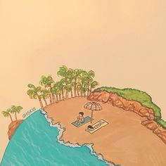 i'll stop the world & melt with you. illustration by @ISKIII www.iskistudio.com #melt #doodle #couple #illustrator #world #romance #earth #artwork #illustration #concept #island #illo #art #summer #surreal #beach #drawing #love