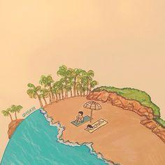 i'll stop the world & melt with you. illustration by @ISKIII www.iskistudio.com #melt #doodle #couple #illustrator #world #romance #earth #artwork #illustration #concept #island #illo #art #summer #surreal #beach #drawing #love